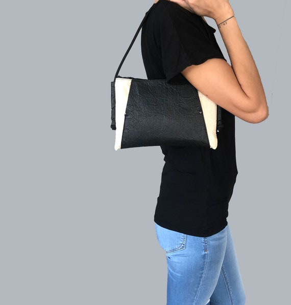 Handbag evening bag made of PINATEX® sustainable and vegan 2coloured  with long or short strap #143