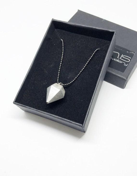 Chain Necklace Black Ball Chain Concrete Jewelry Minimalist Design Concrete Diamond Medium Chain