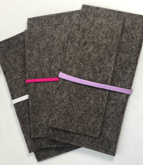 Clutch gray 100% wool felt with elastic band - 07 different colors