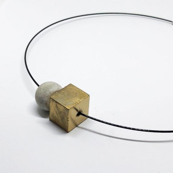 Choker Chain Necklace Concrete Jewelry gold Concrete Minimalist Design gift for women