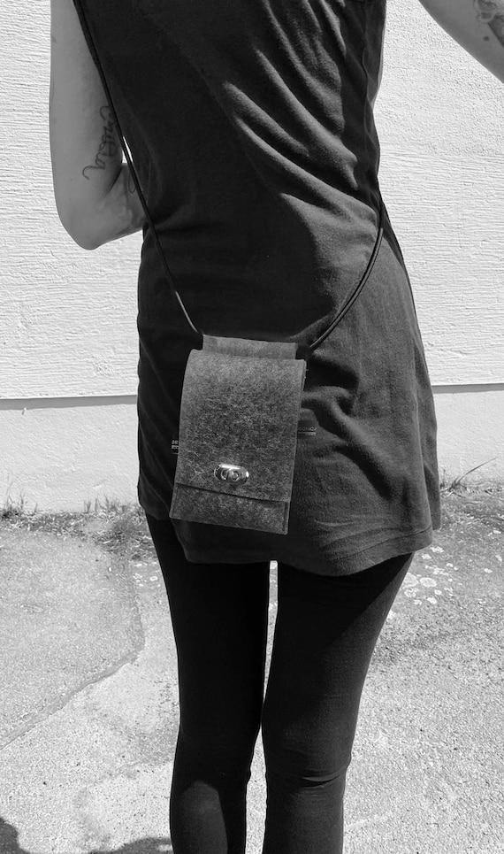 Mobile phone chain Mobile phone case made of 100% merino wool wool felt grey ∣BAG#151