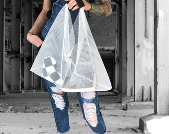 Net BAG TRAPEZ black or white shopping bag shopper