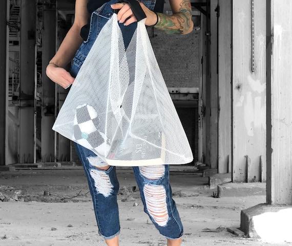 Net BAG TRAPEZ black or white shopping bag shopper ∣BAG#106