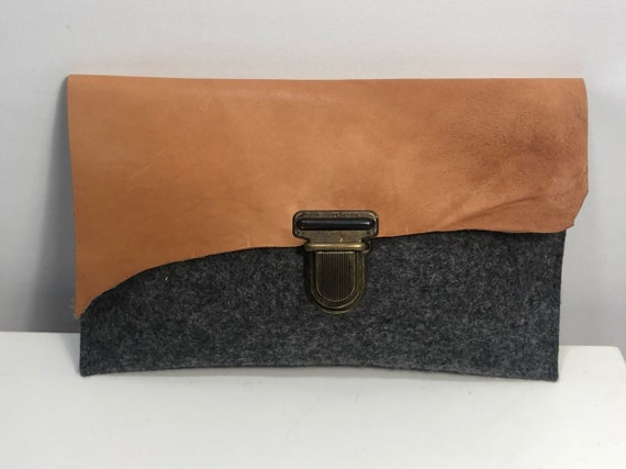 Clutch gray 100% wool felt with leather flap -06 different designs