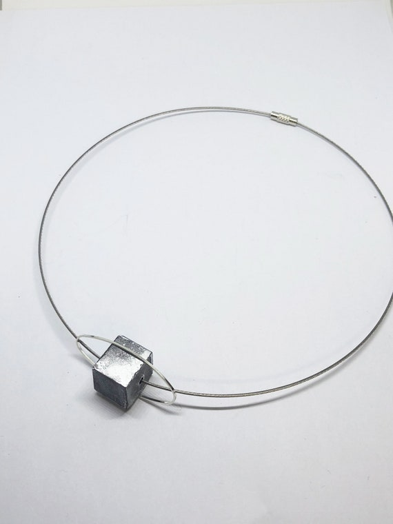 Choker Chain Necklace Concrete Jewelry with Cube Concrete Minimalist Design Gift for Women
