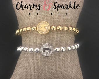 Beautiful Cubic Zirconia Initial Beaded Bracelet, Gold Filled and Silver, Gold, Pave, Rhinestone, Initial Bracelet, Pave bracelet
