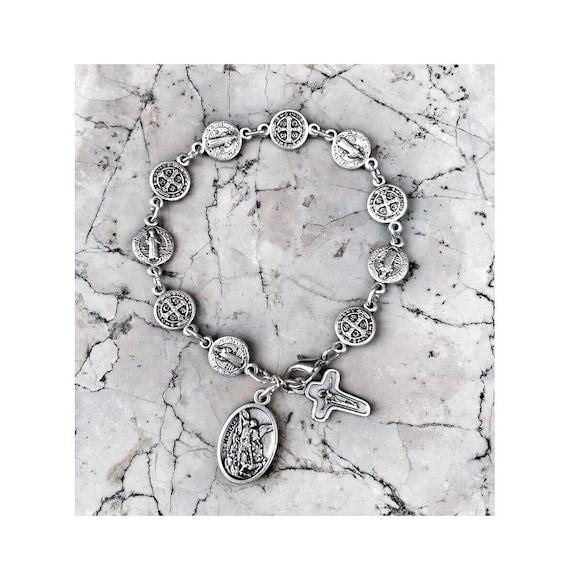 Rosary Bracelet//St Michael Chaplet//Saint Benedict San Benito Medals Catholic Gift
