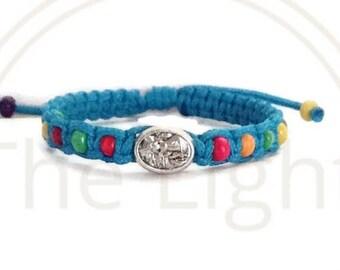 Guardian angel bracelet, angel bracelet, macrame kid bracelet,catholic kids bracelet, guardian angel gift, baby baptism gift, baby girl gift