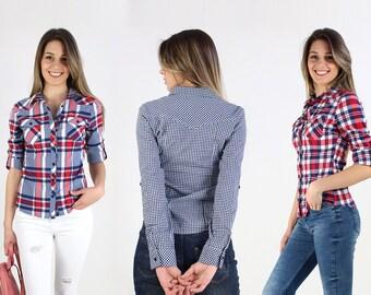 NEW Spring/Summer!!Plaid Shirt/ Red plaid shirt/ Blue Plaid shirt/ Long sleeved classic plaid shirt
