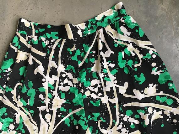 Green Black And White 1970's Palazzo Pants - image 4