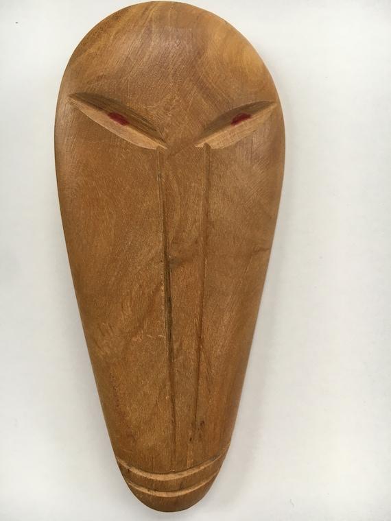 Carved Wood Brooch 1950's Luau Tiki - image 3