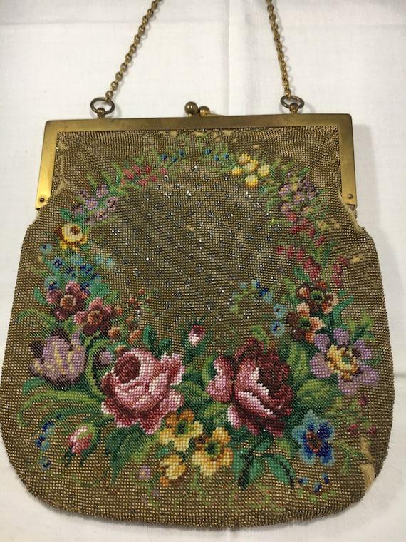 Micro Beaded Floral Vintage Handbag