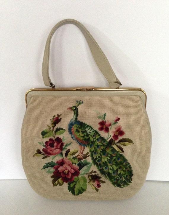 Large Peacock Needlepoint Handbag