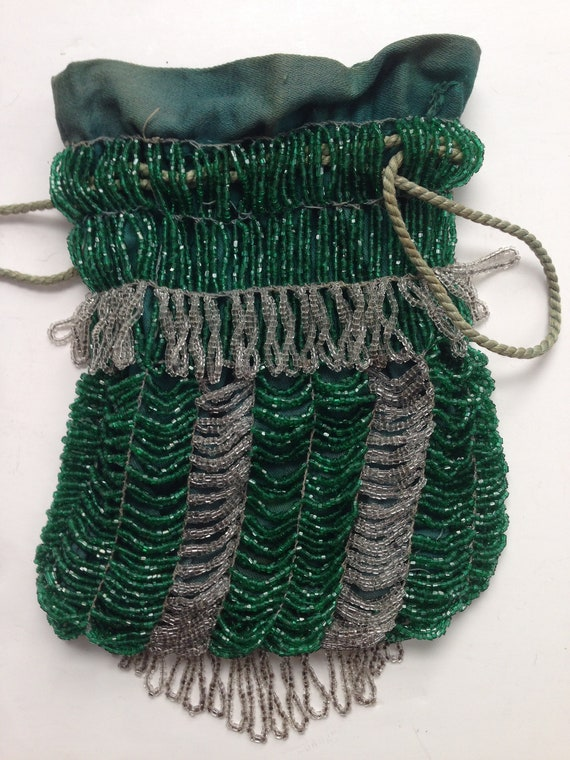Green 1920's Beaded Evening Handbag