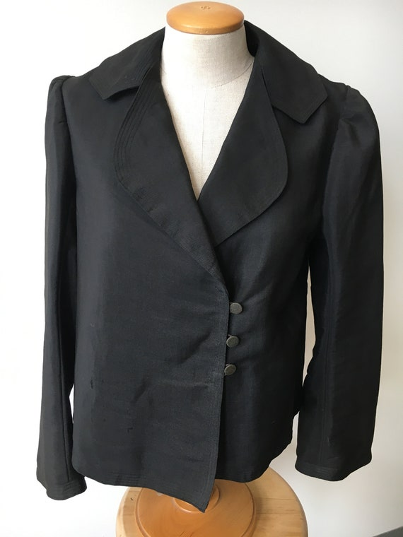 Black Linen Swing Jacket