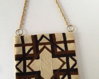 M Needlepoint Shoulder Purse