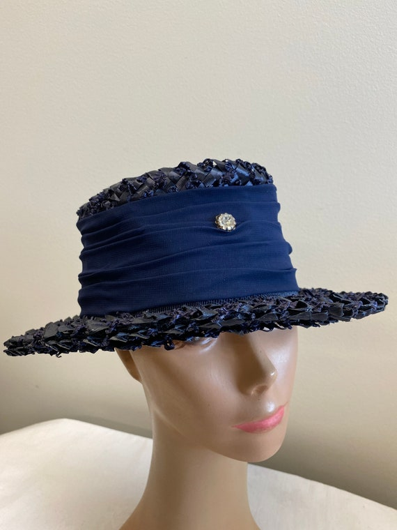 Navy Blue Woven Straw Summer Hat - image 6