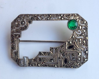 Silver Marcasite Brooch with Green Stone
