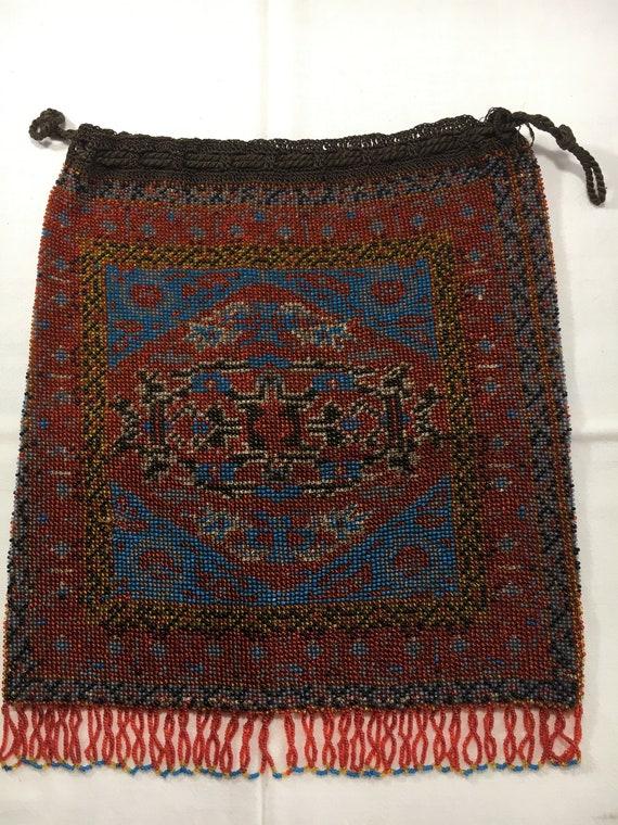 Micro Beaded Crochet Fringed Drawstring Handbag