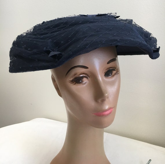 Navy Mushroom Style 1950's Fascinator Hat