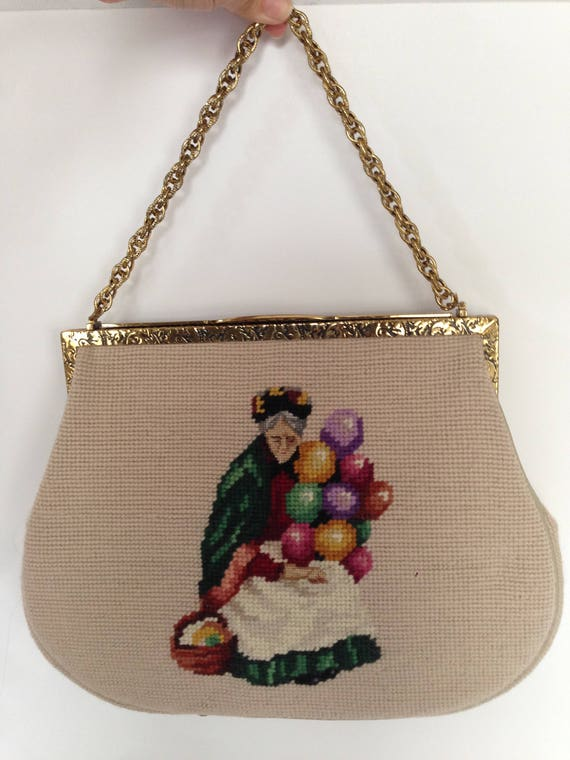 Needlepoint Balloon Sellers Handbag