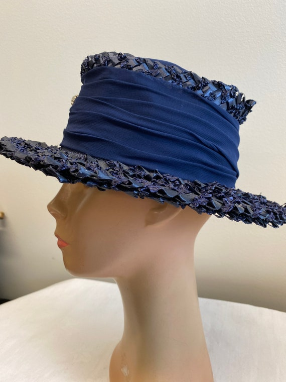 Navy Blue Woven Straw Summer Hat - image 2