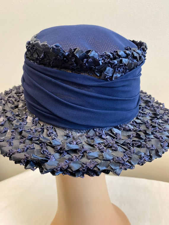 Navy Blue Woven Straw Summer Hat - image 3
