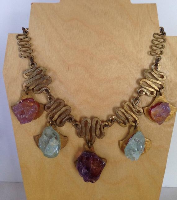 Brass/Amythyst/Aquamarine Necklace