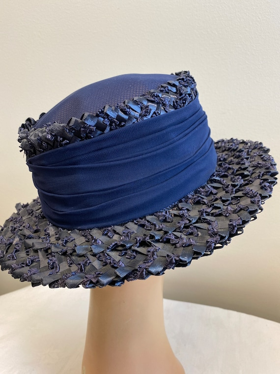 Navy Blue Woven Straw Summer Hat - image 5
