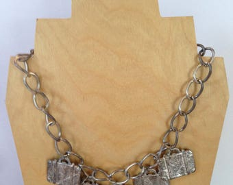 White Metal Suitcase Necklace