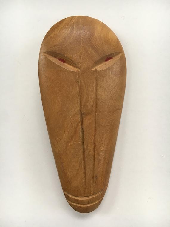 Carved Wood Brooch 1950's Luau Tiki - image 1