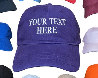 Your Text Here Embroidered Customizable 100% Cotton Hats/Caps With Adjustable Strap & Buckle - Choose Your Own Text, Font Style and Colors