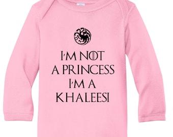 I'm Not A Princes I'm A Khaleesi High Quality Custom Vinyl Infant Long Sleeve Baby Soft Bodysuit
