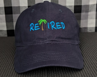 RETIRED Palm Tree Embroidered Navy Blue High Quality Dad Hat/Cap