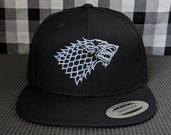Direwolf Outline Embroidered 6-Panel High Quality Snapback Hat/Cap