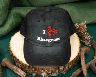 I Love Bluegrass Custom Embroidered Wash Black Hat/Cap