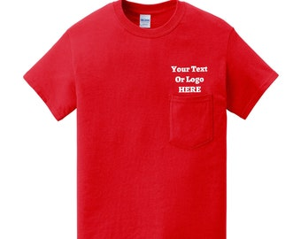 Your Text Or Logo Here Classic Pocket T-Shirt High Quality Vinyl Various Color Options 100% Cotton Solid Colors