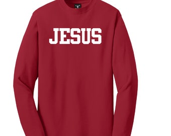 "JESUS ""Chest Plate Of Righteousness"" Long Sleeve T-Shirt Tagless Lay Flat Collar High Quality Heat Pressed Vinyl 100% Cotton Solid Colors"