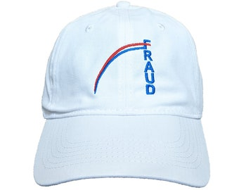 Fraud Graph Embroidered 100% Cotton Soft White Hat/Cap With Adjustable Strap & Buckle