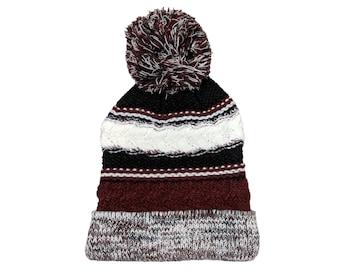Blank Maroon Black White Fold Knit Pom Beanie