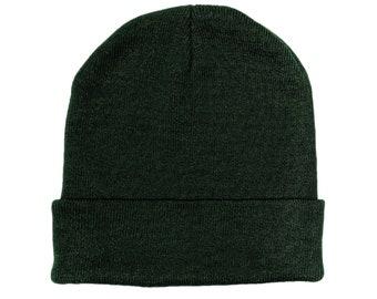 Blank Dark Green Fold Knit Beanie/Cap