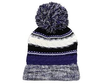 Blank Purple Black White Fold Knit Pom Beanie