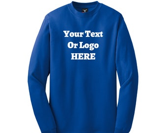 Your Text Or Logo Here Long Sleeve Shirt Tagless Lay Flat Collar High Quality Heat Pressed Vinyl 100% Cotton Solid Colors