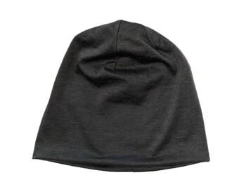 Blank Charcoal Gray Polyester Jersey Knit Lightweight Skull Cap/Beanie