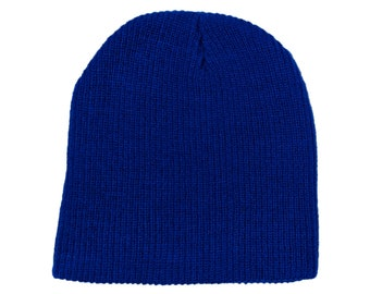 Blank Royal Blue Ribbed Soft Knit Beanie