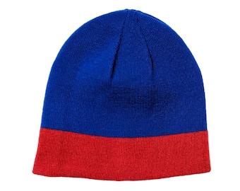 Blank Royal Blue Red Reversible Skull Cap/Beanie