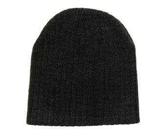 Blank Charcoal Gray Ribbed Knit Skull Cap/Beanie