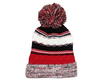 Blank Red Black White Fold Knit Pom Beanie