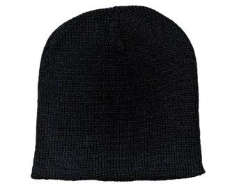 Blank Black Ribbed Knit Skull Cap/Beanie