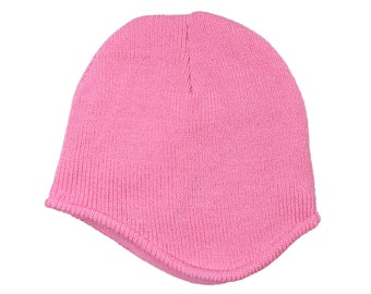 Blank Soft Pink Acrylic Knit Beanie With Fleece Lining and Ear Covering